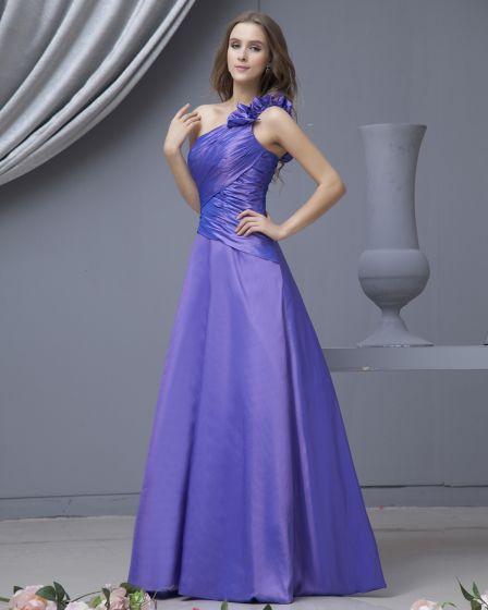 Fashion Taffeta One Shoulder Floor Length Bridesmaid Dresses