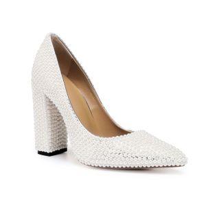 Mode Ivoire Perle Chaussure De Mariée 2020 Cuir 10 cm Talons Épais À Bout Pointu Mariage Escarpins