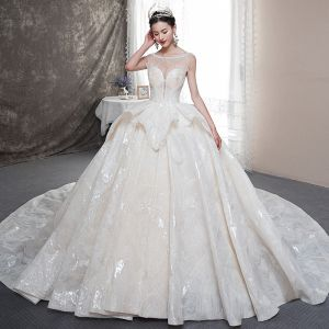 Luxury / Gorgeous Champagne See-through Wedding Dresses 2019 Ball Gown Square Neckline Sleeveless Backless Beading Glitter Tulle Cathedral Train Ruffle