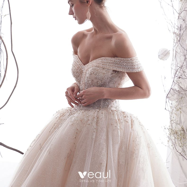 Luxury / Gorgeous Ivory Wedding Dresses 2019 A-Line / Princess Off-The-Shoulder Beading Crystal Lace Flower Sleeveless Backless Cathedral Train