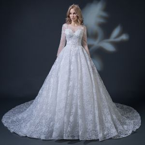 Modest / Simple Ivory See-through Wedding Dresses 2018 Ball Gown Scoop Neck Long Sleeve Backless Appliques Pierced Lace Ruffle Cathedral Train
