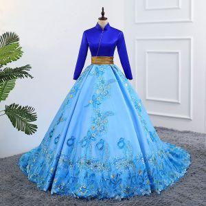 Vintage Blau Ballkleider 2019 A Linie Stehkragen Spitze Blumen Pailletten Lange Ärmel Rückenfreies Kapelle-Schleppe Festliche Kleider