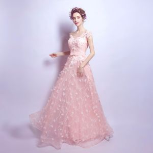 Chic / Beautiful Formal Dresses 2017 Party Dresses Evening Dresses  Lace Appliques Flower Beading Bow Sash Backless U-Neck Short Sleeve Pearl Pink A-Line / Princess Floor-Length / Long