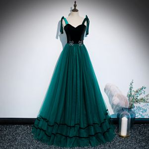 Chic / Beautiful Dark Green Suede Dancing Prom Dresses 2020 A-Line / Princess Shoulders Sleeveless Rhinestone Floor-Length / Long Ruffle Backless Formal Dresses