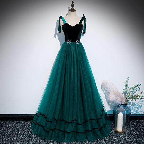 Chic / Beautiful Dark Green Suede Dancing Prom Dresses 2020 A-Line / Princess Shoulders Sleeveless Rhinestone Floor-Length / Long Ruffle Backless Formal Dresses