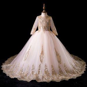 Vintage / Originale Doré Robe Ceremonie Fille 2019 Robe Boule Col Haut Manches Longues Glitter Perlage Tribunal Train Volants Robe Pour Mariage
