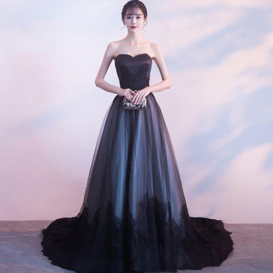 Único Negro Vestidos de gala 2017 A-Line / Princess Sin Tirantes Con Encaje Tul Apliques Sin Espalda Gala Vestidos Formales