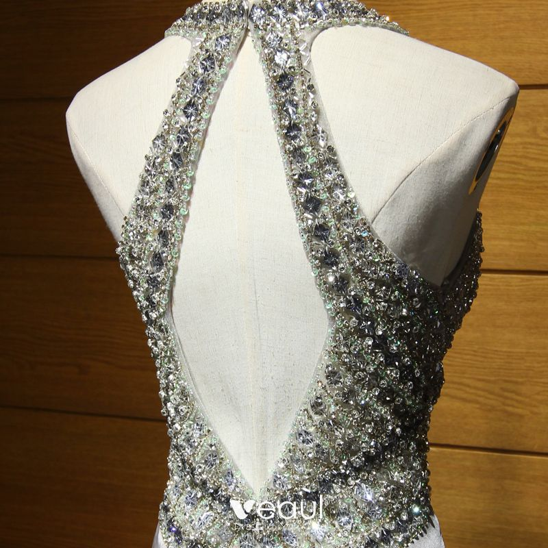 Sparkly Formal Dresses 2017 Evening Dresses  Silver Trumpet / Mermaid Sweep Train Scoop Neck Sleeveless Backless Crystal Sequins Beading Rhinestone