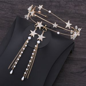 Chic / Beautiful Gold Accessories 2019 Metal Star Rhinestone Crystal Pearl Headpieces Tassel Earrings