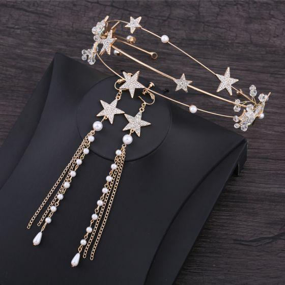Chic / Beautiful Gold Accessories 2019 Metal Star Rhinestone Crystal Pearl Headpieces Tassel Earrings