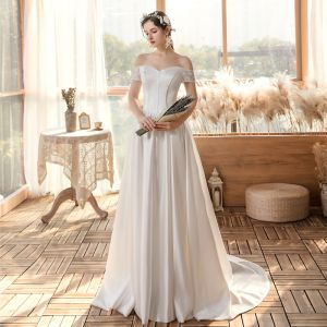 Affordable White Satin Bridal Wedding Dresses 2020 A-Line / Princess Off-The-Shoulder Short Sleeve Backless Sweep Train Ruffle