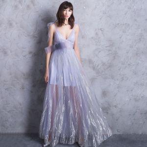 Modern / Fashion Floor-Length / Long Lavender Evening Dresses  2018 A-Line / Princess V-Neck Tulle Appliques Backless Formal Dresses