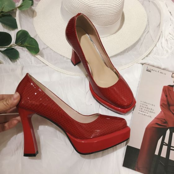 Elegantes Rojo Gala Charol Snakeskin Imprimir Tacones 2021 Cuero 9 cm Stilettos / Tacones De Aguja Punta Estrecha Tacones High Heels