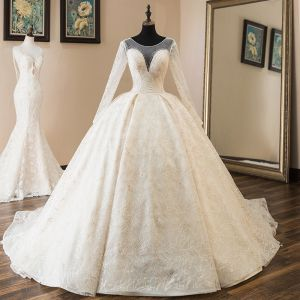 Luxury / Gorgeous Champagne See-through Wedding Dresses 2019 Ball Gown Scoop Neck Long Sleeve Backless Appliques Lace Beading Cathedral Train Ruffle