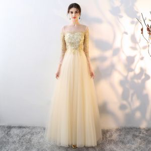 Elegant Gold See-through Evening Dresses  2018 Empire Square Neckline Long Sleeve Appliques Lace Floor-Length / Long Ruffle Formal Dresses