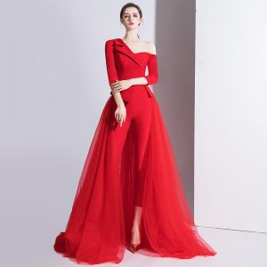 Fashion Red Jumpsuit 2020 One-Shoulder 3/4 Sleeve Detachable Sweep Train Backless Evening Dresses