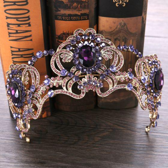 Hermoso Oro Uva Tiara 2019 Metal Rhinestone Tocados de novia