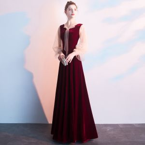 Chic / Beautiful Burgundy Evening Dresses  2019 A-Line / Princess V-Neck Long Sleeve Floor-Length / Long Formal Dresses