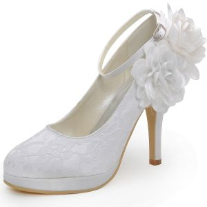 Waterproof High With Sweet Lace Flowers Bridal Shoes Foot Ring Strap Shoes