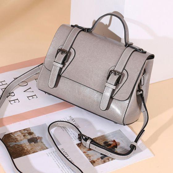 Mode Grau Quadratische Umhängetasche Umhängetaschen Schultertaschen Handtasche 2021 Leder Freizeit Damentaschen