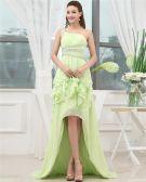 One Shoulder Sleeveless Belt Ruffle Beading Asymmetrical High Low Chiffon Woman Prom Dress