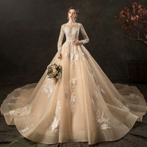Charming Champagne See-through Wedding Dresses 2020 A-Line / Princess Scoop Neck Long Sleeve Backless Appliques Lace Cathedral Train Ruffle