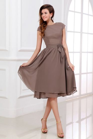 2015 Simple Scoop Neck Zipper Knee-length Bridesmaids Dress