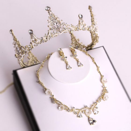 Chic / Beautiful Gold Tiara Necklace Earrings Bridal Jewelry 2019 Metal Beading Crystal Rhinestone Wedding Accessories