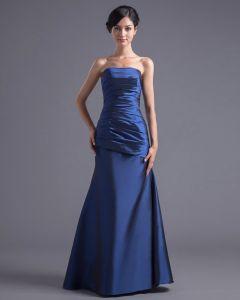 Fashion Pleated Strapless Floor Length Taffeta Bridesmaid Dress