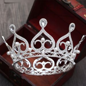 Chic / Beautiful Silver Bridal Jewelry 2017 Metal Beading Crystal Pearl Rhinestone Headpieces Wedding Prom Accessories