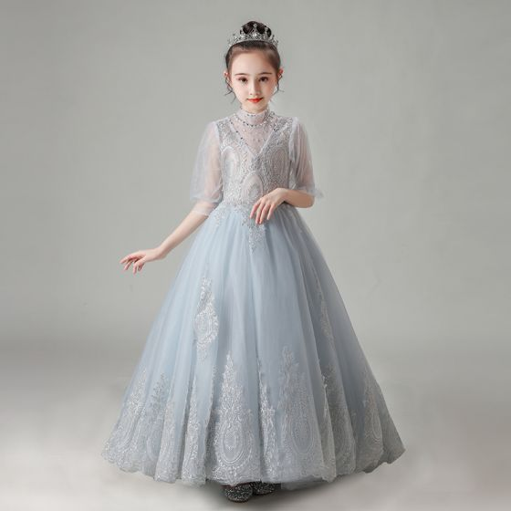 Vintage / Retro Grey See-through Birthday Flower Girl Dresses 2020 A-Line / Princess High Neck Puffy 1/2 Sleeves Appliques Lace Beading Court Train Ruffle