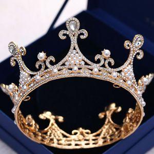 Vintage Gold Hochzeit Diadem 2018 Metall Perle Strass Brautaccessoires