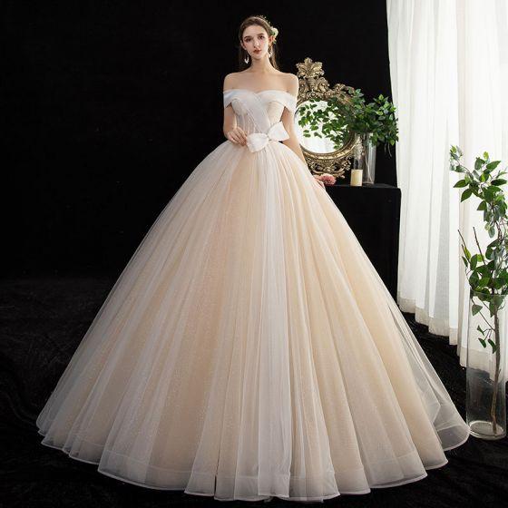 Mode Champagner Glanz Brautkleider / Hochzeitskleider 2020 Ballkleid Off Shoulder Schleife Kurze Ärmel Rückenfreies Lange