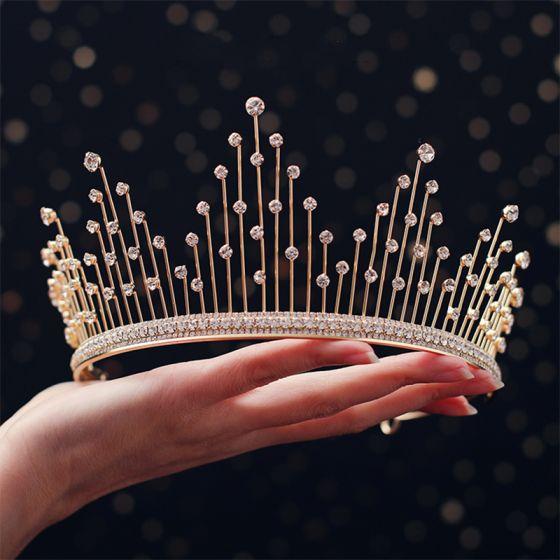Chic / Beautiful Gold Tiara Earrings Bridal Jewelry 2019 Metal Rhinestone Bridal Hair Accessories