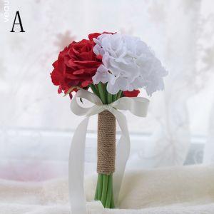 Mode Rot Hochzeit Handgefertigt Künstliche Blumen Brautstrauß 2019