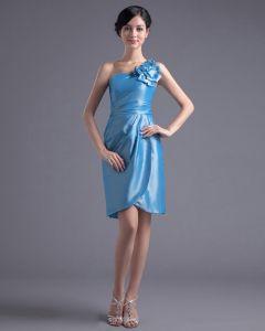 Mode Taft Geplooide Bloem Een Schouder Dij Lengte Feestjurken