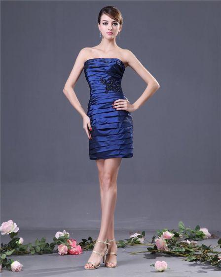 Sheath Strapless Knee Length Taffeta Women's Bridesmaids Dresses