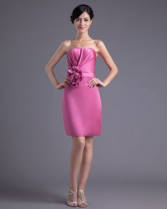 Satin Plisse Fleur Robe Bustier De Demoiselle D'honneur De Longueur De La Cuisse De La Mode