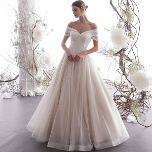 Elegant Champagne Wedding Dresses 2019 A-Line / Princess Off-The-Shoulder Beading Lace Flower Short Sleeve Backless Floor-Length / Long