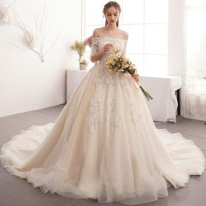 Charming Champagne Wedding Dresses 2019 A-Line / Princess Off-The-Shoulder Beading Pearl Lace Flower Short Sleeve Backless Cathedral Train