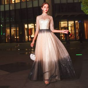 Sparkly Champagne Evening Dresses  2020 A-Line / Princess High Neck Beading Sequins 1/2 Sleeves Floor-Length / Long Formal Dresses