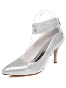 Argent Brillant Chaussures De Mariée Escarpin Stilettos Chaussures Talons De Mariage Paillettes Avec Bride Cheville