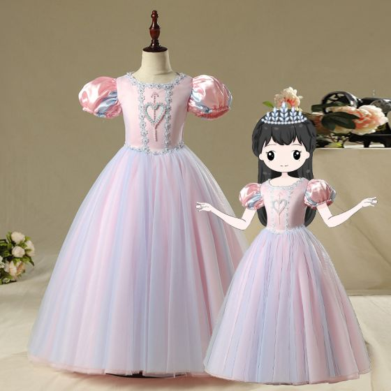 Vintage / Retro Pearl Pink Birthday Flower Girl Dresses 2020 Princess Scoop Neck Puffy Long Sleeve Beading Floor-Length / Long Ruffle
