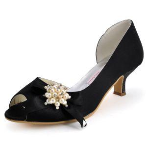 Chaussures Sexy Perlee De Mariage En Satin Noir Nouvelle Tete De Poisson Decoratif Fait Main, Chaussures De Soirée Dans Le Talon