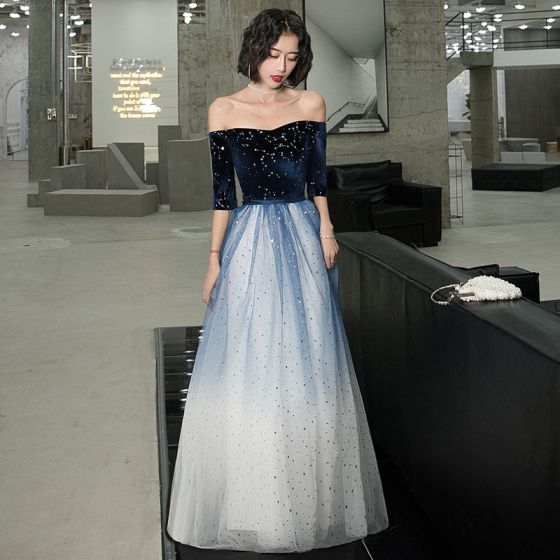 Chic / Beautiful Navy Blue Gradient-Color White Suede Evening Dresses  2020 A-Line / Princess Off-The-Shoulder 1/2 Sleeves Sequins Sash Floor-Length / Long Ruffle Backless Formal Dresses