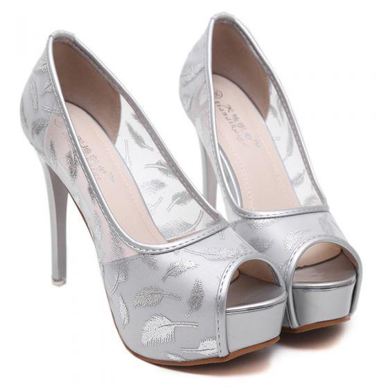 Chic / Beautiful Prom Pumps 2017 Leather High Heels Platform Pierced Open / Peep Toe High Heel Pumps