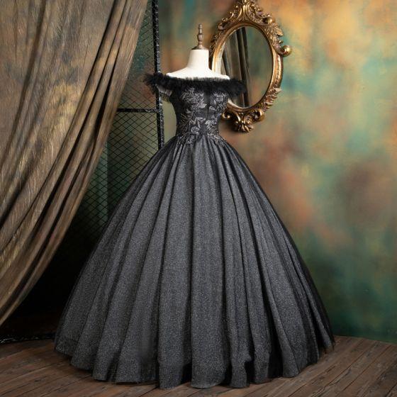 Vintage Negro Quinceañera Vestidos de gala 2021 Ball Gown Ruffle Fuera Del Hombro Rebordear Lentejuelas Con Encaje Flor Sin Mangas Sin Espalda Largos Vestidos Formales