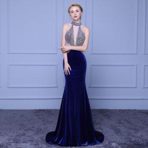 Moderne / Mode Bleu Marine Robe De Soirée 2018 Trompette / Sirène Col Haut Tulle Dos Nu Perlage Faux Diamant Soirée Robe De Ceremonie