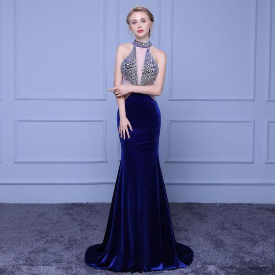 Robe de soiree sirene bleu marine