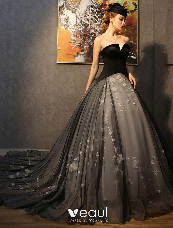 8ce0cea82 Impresionantes Vestidos De Fiesta 2016 Sin Tirantes De Tul Negro De Tul  Mezcla Champán Vestido De Gala ...